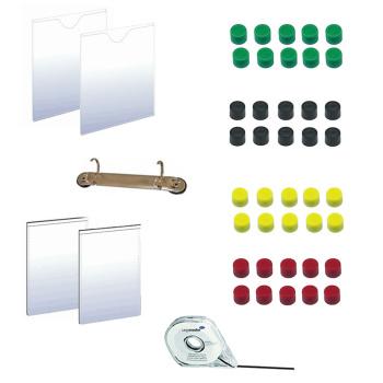 Kontor pakke med både magneter,  lommer, kassetter, tape og rindbindsmekanisme.