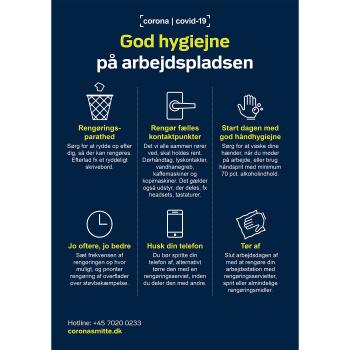Magnetskilt med god hygiejne på arbejdspladsen - Sundhedsstyrelsens anbefalinger