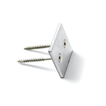 Kvadratisk panelmagnet med 2 skruehuller - 40x40x4 mm. neodymium