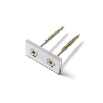 Panelmagnet af neodymium og metalpotte - aflang magnet med skruehuller