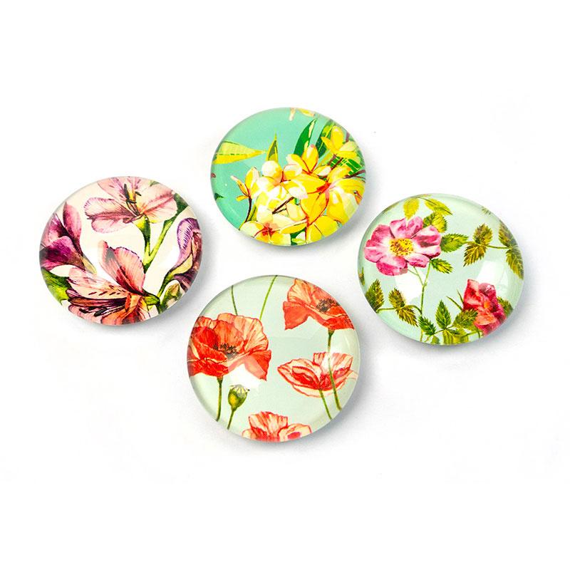 Billede af Blomster Magneter, 4-pak - køleskabsmagneter