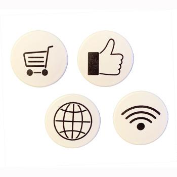 Online magnet-pakken - 4 stk. stærke kontormagneter med online symboler til whiteboard og glastavle