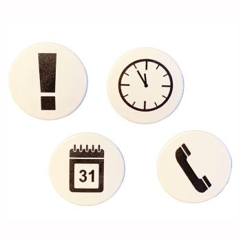 ON TIME er en pakke m. 4 hvide, stærke kontormagneter m. sorte symboler