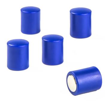 Stavmagneter med plasthætter - 5 pak blå magneter - gode til glastavler