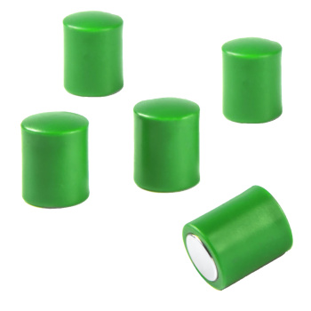 Stavmagneter med plasthætter - 5 pak grønne magneter - gode til glastavler