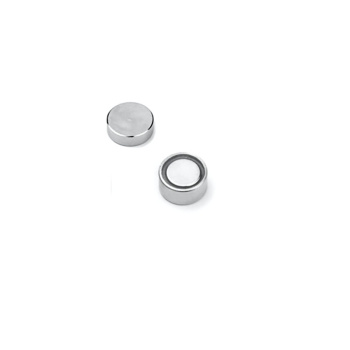 Plan pottemagnet 10 mm. af neodymium med metalpotte