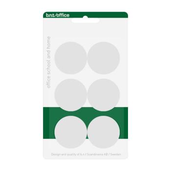 Pakke med 6 billige hvide kontormagneter 30 mm. fra BNT Scandinavia