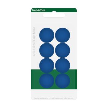 Pakke med 8 billige blå kontormagneter 20 mm. fra BNT Scandinavia