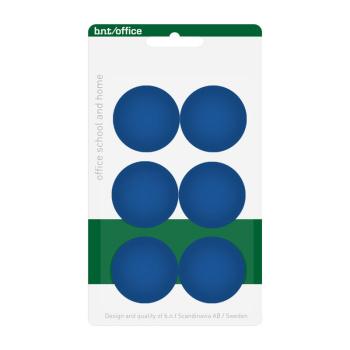 Pakke med 6 billige blå kontormagneter 30 mm. fra BNT Scandinavia