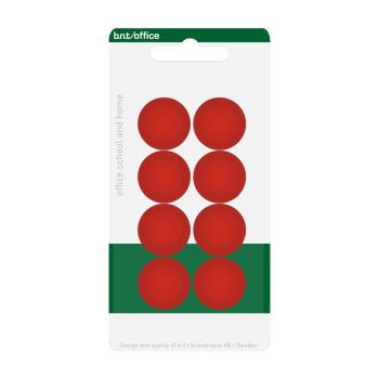 Pakke med 8 billige røde kontormagneter 20 mm. fra BNT Scandinavia