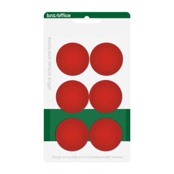 Pakke med 6 billige røde kontormagneter 30 mm. fra BNT Scandinavia