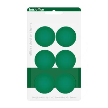 Pakke med 6 billige grønne kontormagneter 30 mm. fra BNT Scandinavia