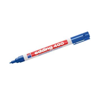 Edding 400 permanent tusch blå - kan ikke viskes ud igen. Til tynde streger og vandfast. Kan skrive på alle materialer.