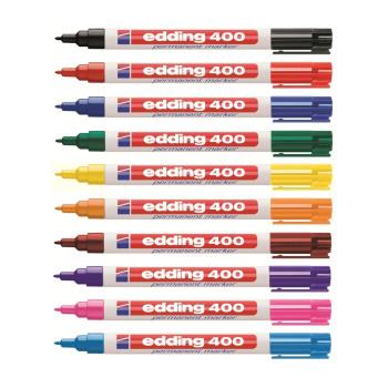 Edding 400 permanente markers mix-pak med 10 stk. forskellige farver