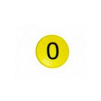 Talmagnet med tallet 0, gul rund Boston Xtra
