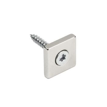 Neodymmagnet med undersænket hul til skrue 20x20x4 mm.