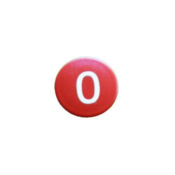 Rød talmagnet med tallet 0