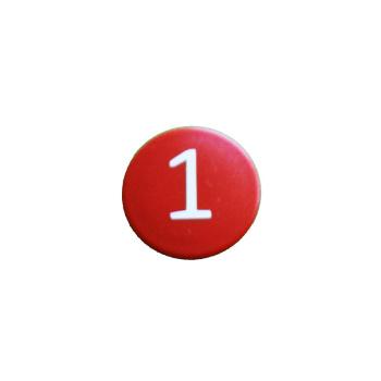 Rød talmagnet med tallet 1