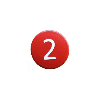 Rød talmagnet med tallet 2