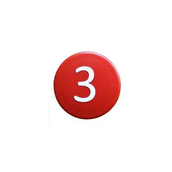 Rød talmagnet med hvidt 3-tal