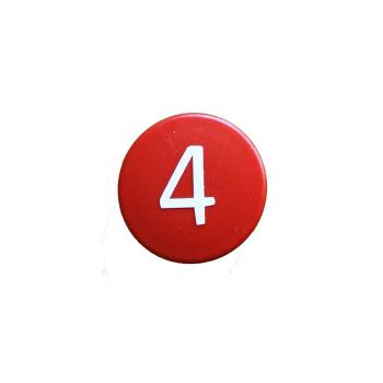 Rød talmagnet med hvidt 4-tal