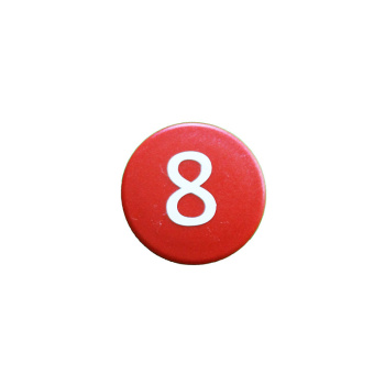 Rød talmagnet stærk m. tallet 8