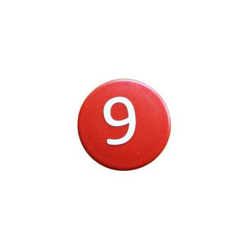 Rød talmagnet m. 9-tal, meget stærk
