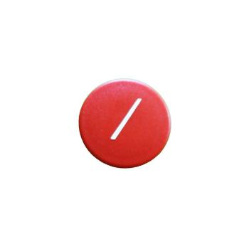 Rød rund kontormagnet med hvid skråstreg