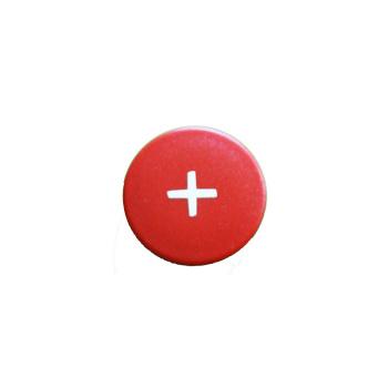 Rød rund symbolmagnet med plus el. gange