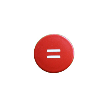 Rød rund magnet med hvidt lig-med-tegn