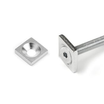 Metalplade til skrue 15x15x3 mm., magnetisk metal
