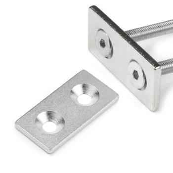Firkantet metalplade m. 2 huller 40x20x3 mm.
