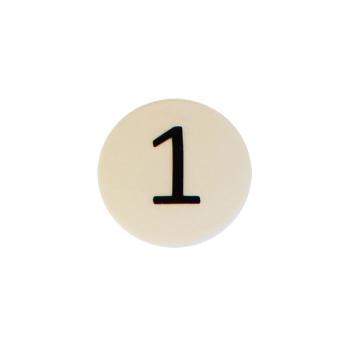 Hvid rund magnet m. tallet 1, neodym og plast