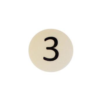 Hvid kontormagnet m. 3-tal, rund 3 cm.