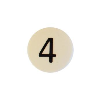 Hvid rund talmagnet m. tallet 4