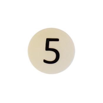 Hvid rund talmagnet m. tallet 5