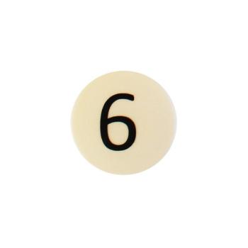 Talmagnet m. 6-tal, hvid og rund magnet