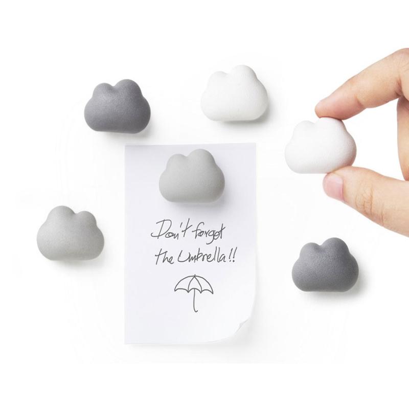 Billede af Cloud magneter grå/hvid 6-pak - køleskabsmagneter